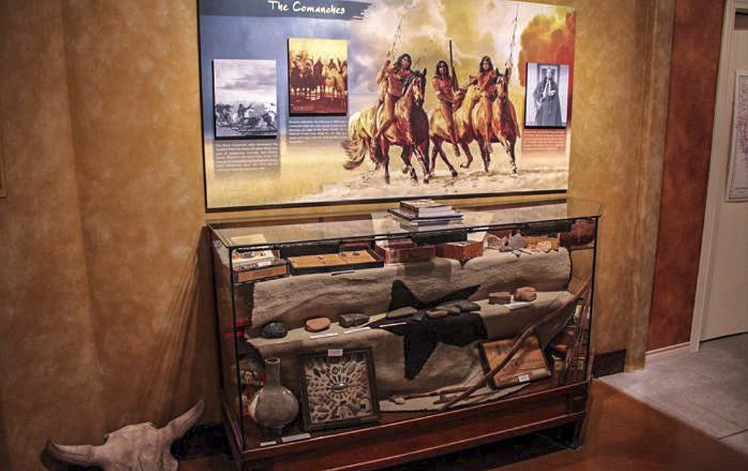 """""""Comanche warrior"""" • Illustration on installed Graphic panel • Tales N' Trails Museum, Nocona, TX. © KT"""