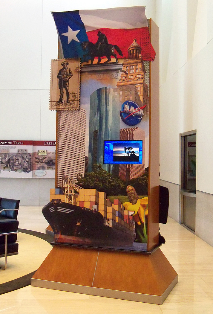 """""""Pylon Design"""" • Exhibit lobby of the Federal Reserve Bank of Dallas.  4' by 9' pylon has stand-off embellishments. Depicting prominent images from the surrounding region of Houston Texas. © KT"""