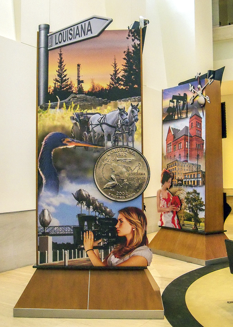 """""""Pylon Design"""" • Lobby of the Federal Reserve Bank of Dallas. 4' by 9' pylon has stand-off embellishments. Depicting prominent images from the region of NW Louisiana and the NE region of Texas © KT"""