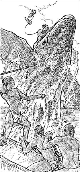"""""""Whale Hunt 2"""" • Digital illustration, concept for vertical mural. © KT"""