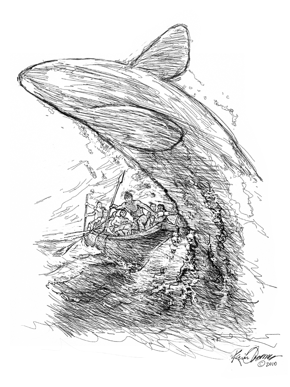 """""""Whale Hunt 1"""" •  Digital illustration, concept for vertical mural. © KT"""