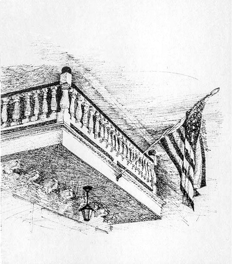 """Patriotic Balcony"" • 10"" x 12"" • Pen & ink"
