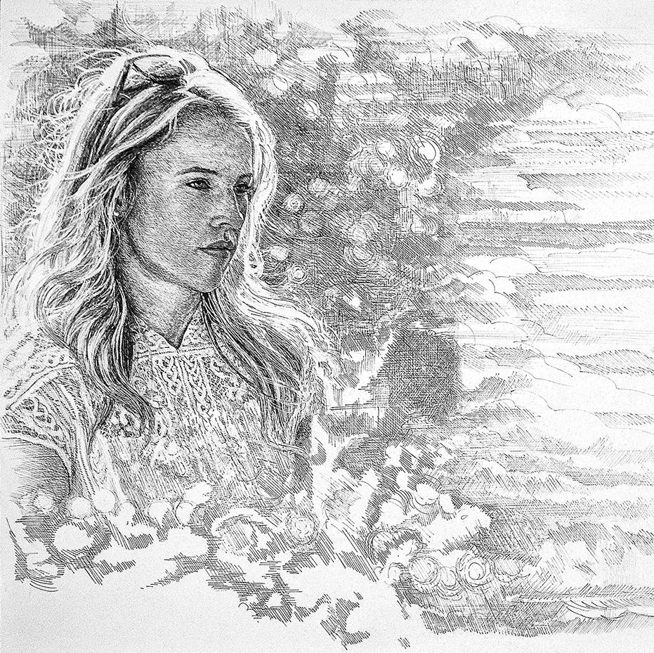 """Kate"" • 20"" x 30"" detail • pen & ink"