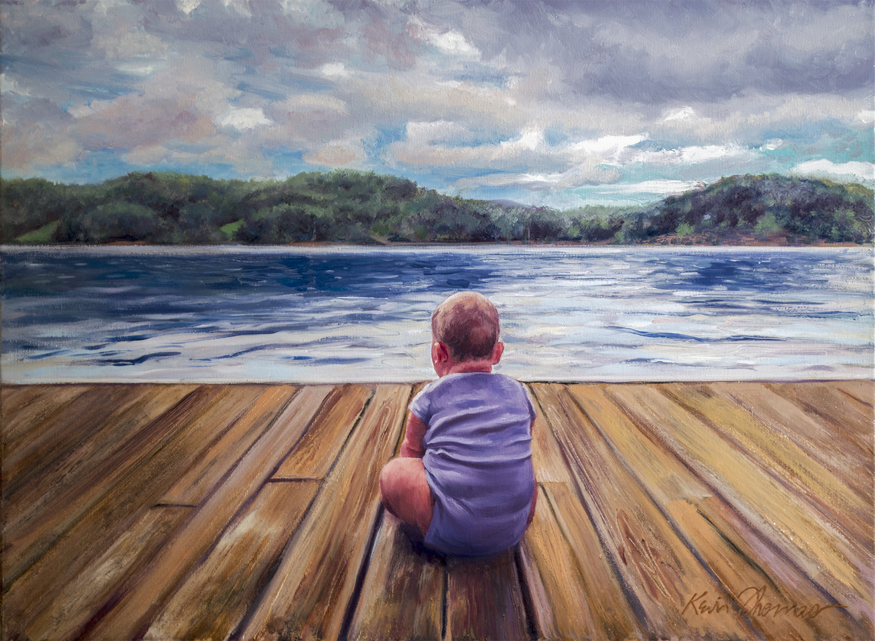 """""""Breck on Deck"""" •18"""" x 24"""" • oil on canvas"""