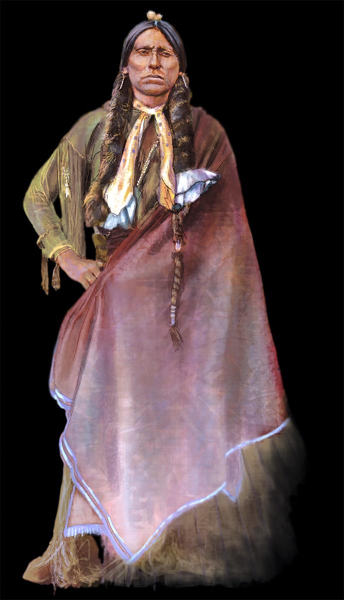 """Quanah Parker"" - (Detail) Digital Mural • Last Chief of the Comanche • Tales N'Trails, Nocona, TX. © KT"