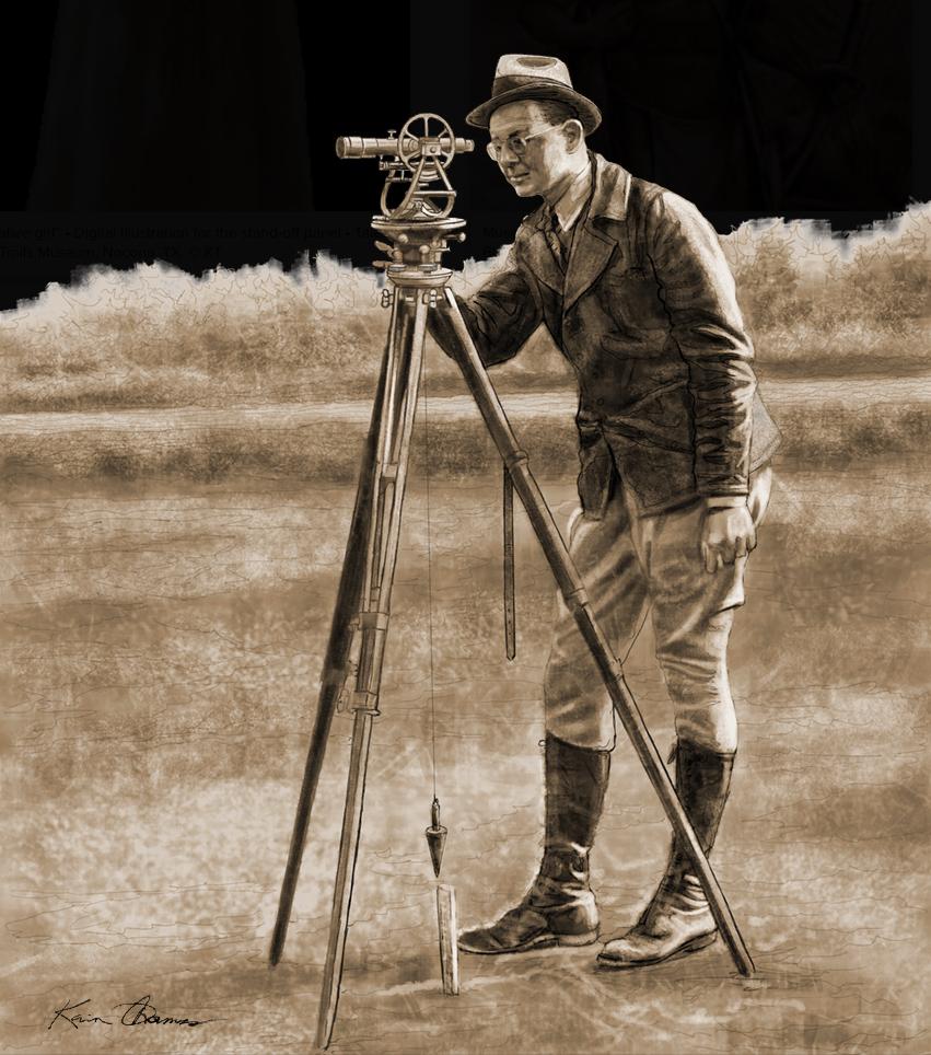 """Surveyor"" • Sepia-tone digital Illustration • The Mount Pleasant Historical Museum • Mount Pleasant, TX. © KT"