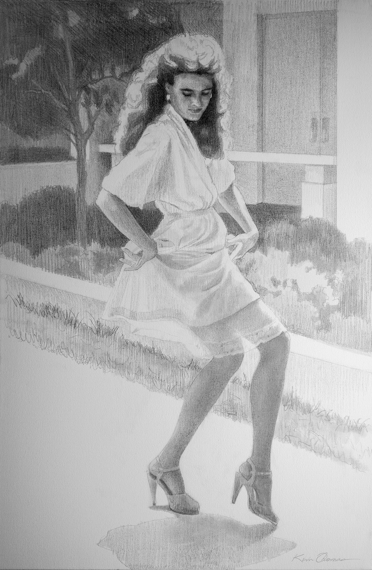 """Kathryn's Slip"" • 24"" x 36"" • preliminary drawing (Graphite) • oil on canvas"