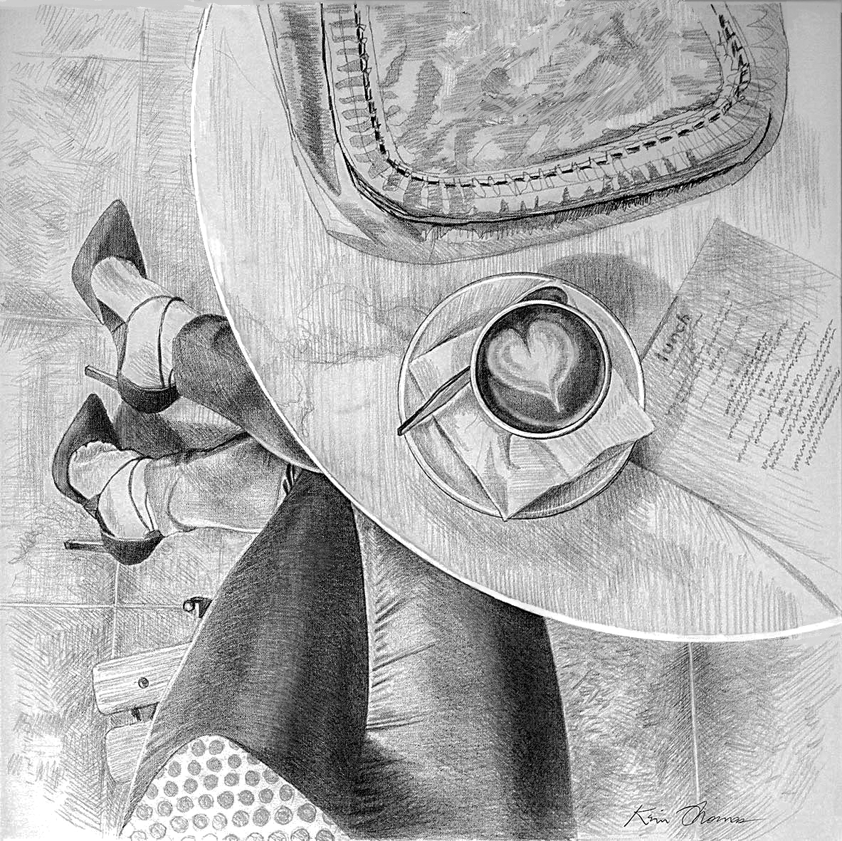 "Graphite preliminary drawing for the painting.  ""Latte Heart"" • 30"" x 30"" • oil on canvas"