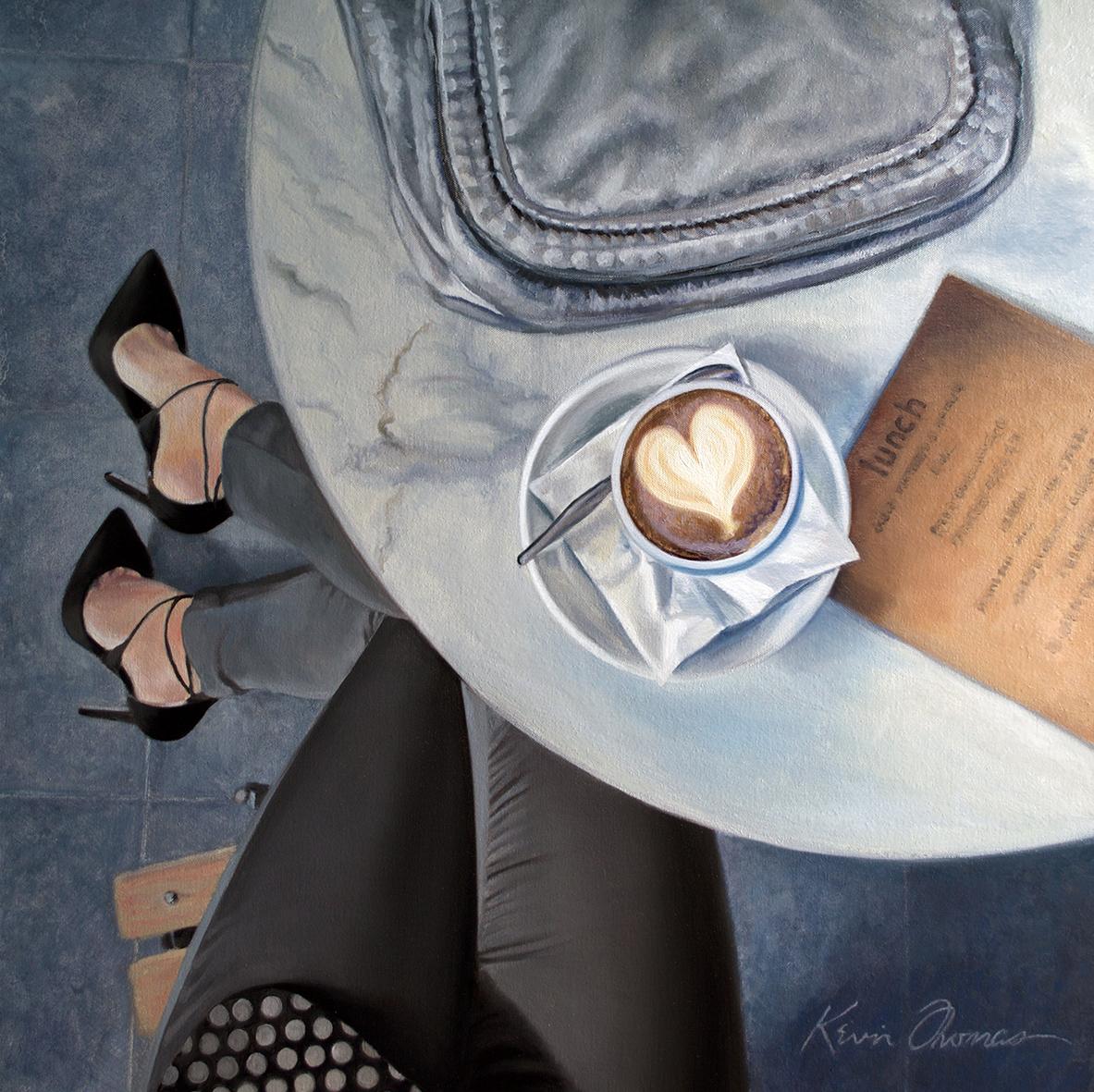 """Latte Heart"" • 30"" x 30"" •oil on canvas"