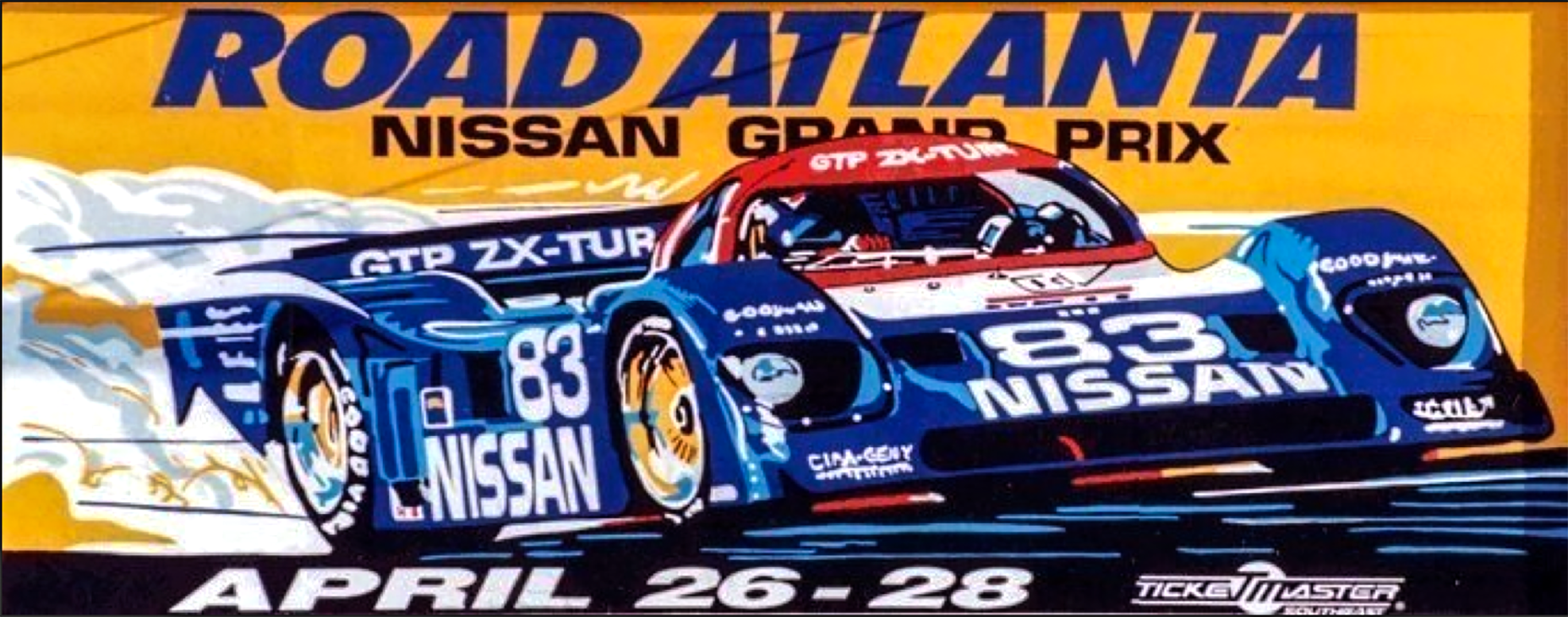 """Outdoor Advertising- """"Nissan Grand Prix"""" • Road Atlanta. Designed & illustrated this 10'6"""" by 36' poster. © KT"""