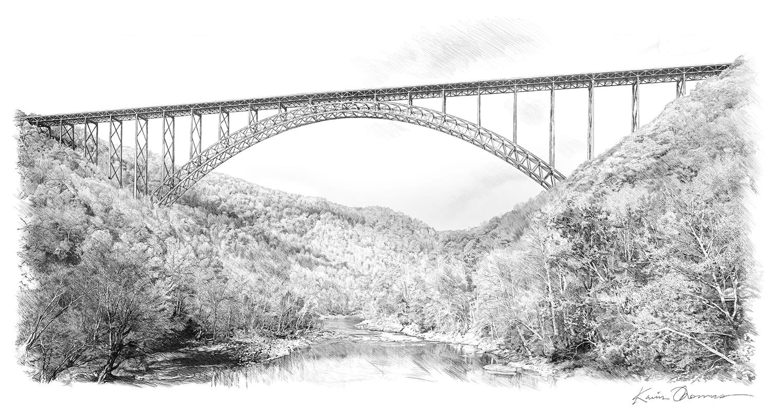 """""""New River Gorge Bridge"""" • 9"""" x 14"""" •  Pen & ink- commissioned rendering"""