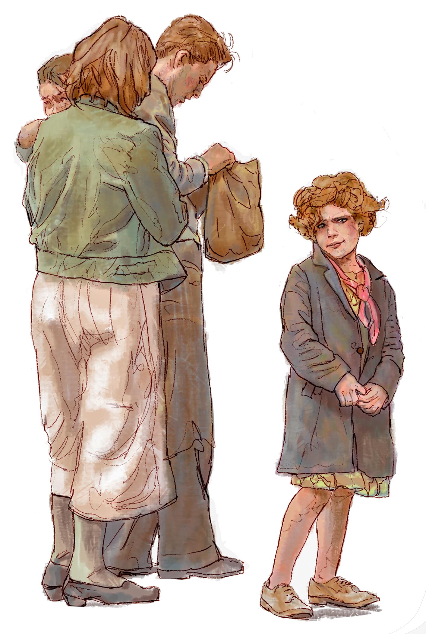 """Family"" • Digital Illustration, Tales N' Trails Museum, Nocona, TX. © KT"