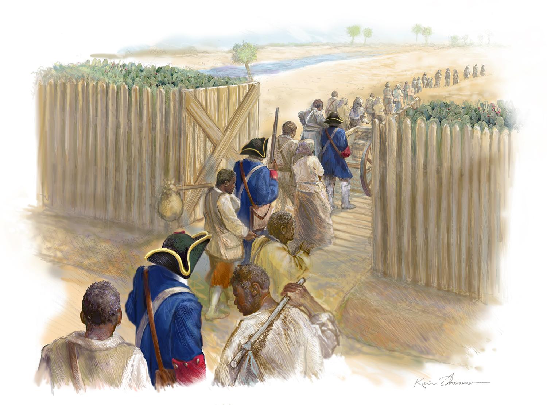 """""""Leaving St. Augustine"""" • Digital Illustration, Fort Mose Visitors Center • St. Augustine, FL. © KT"""