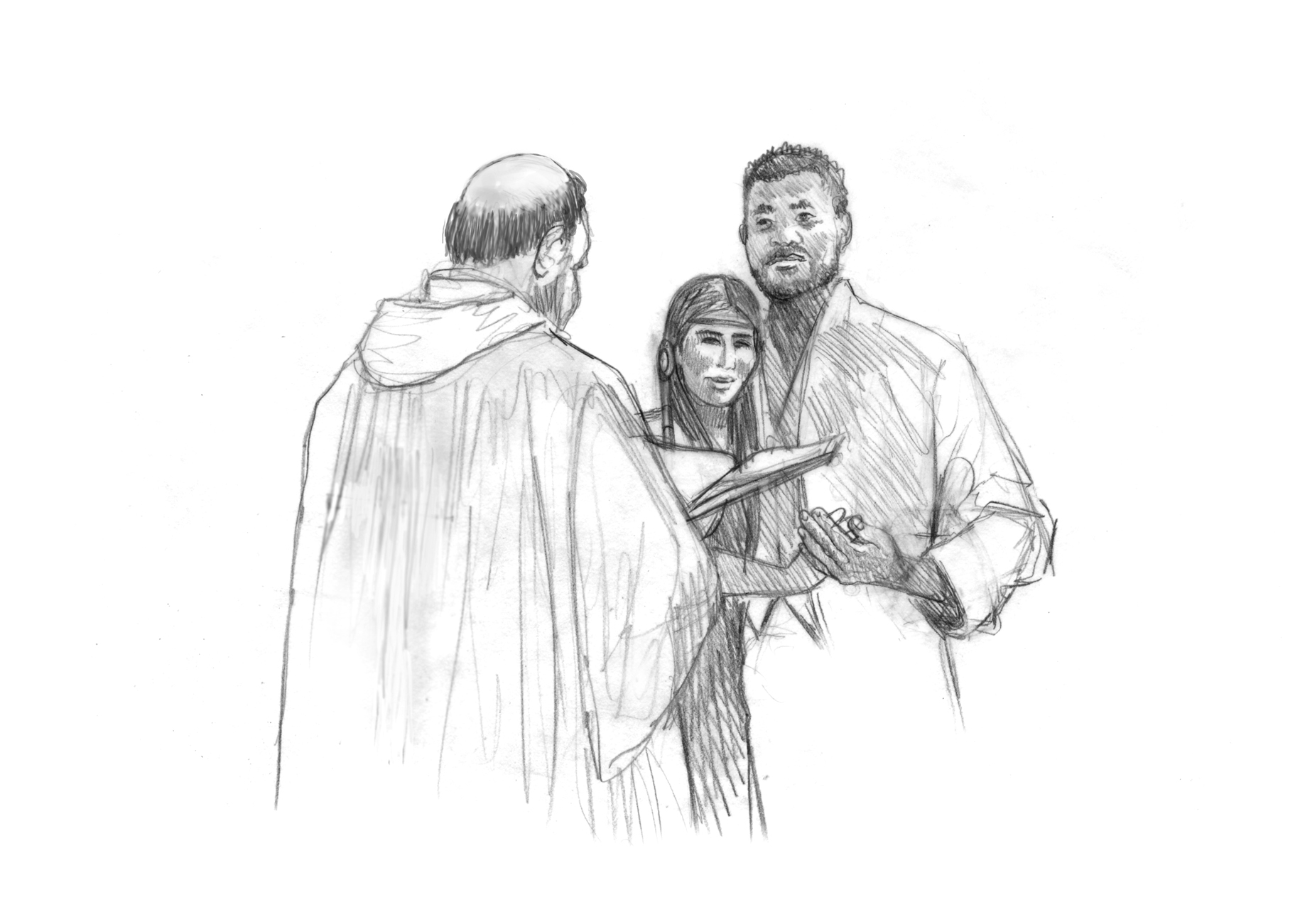 "Concept for ""Innerracial Marriage"" • Digital Illustration, Fort Mose Visitors Center • St. Augustine, FL. © KT"