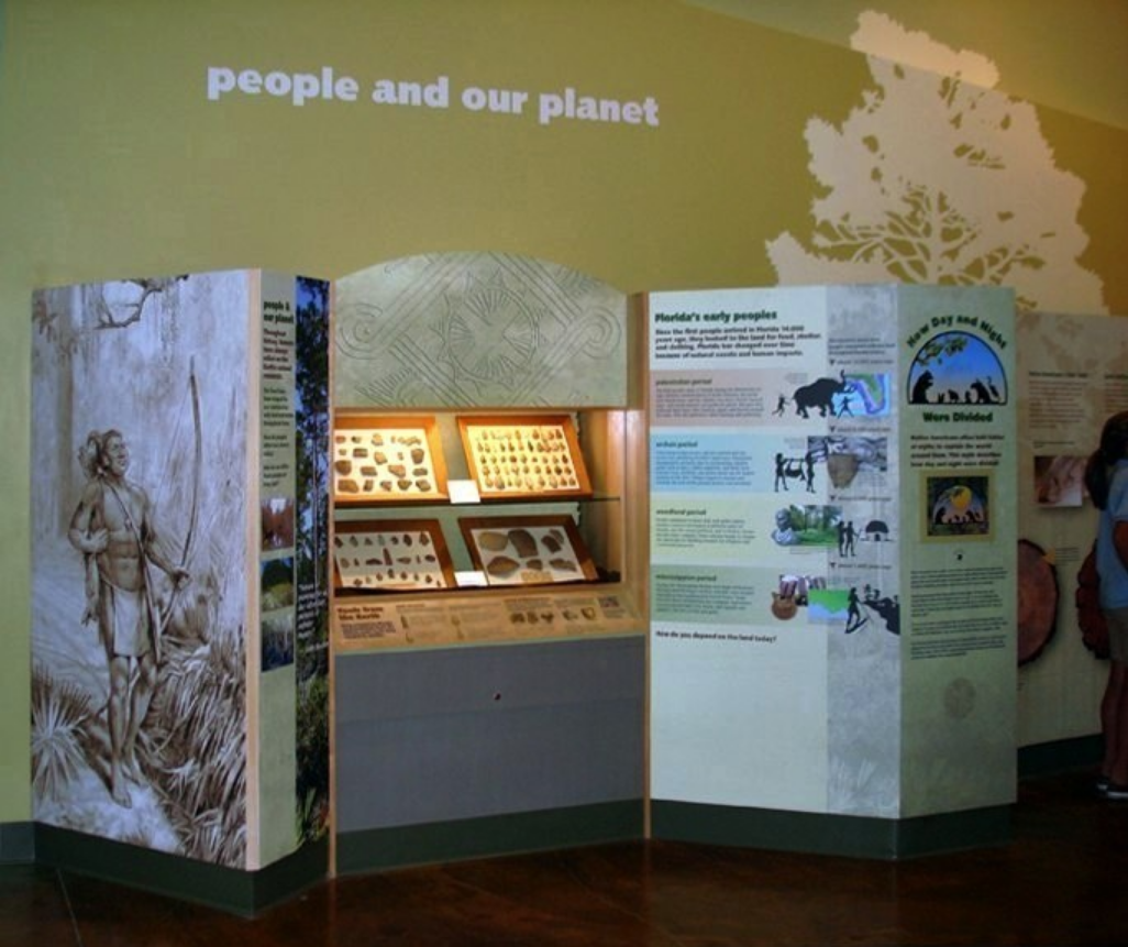 """Museum Illustration- """"Seminole pathway illustration and How Day & Night Were Divide"""" Animation installed • E. O. Wilson Biophilia Center, Warren County, FL. © KT"""
