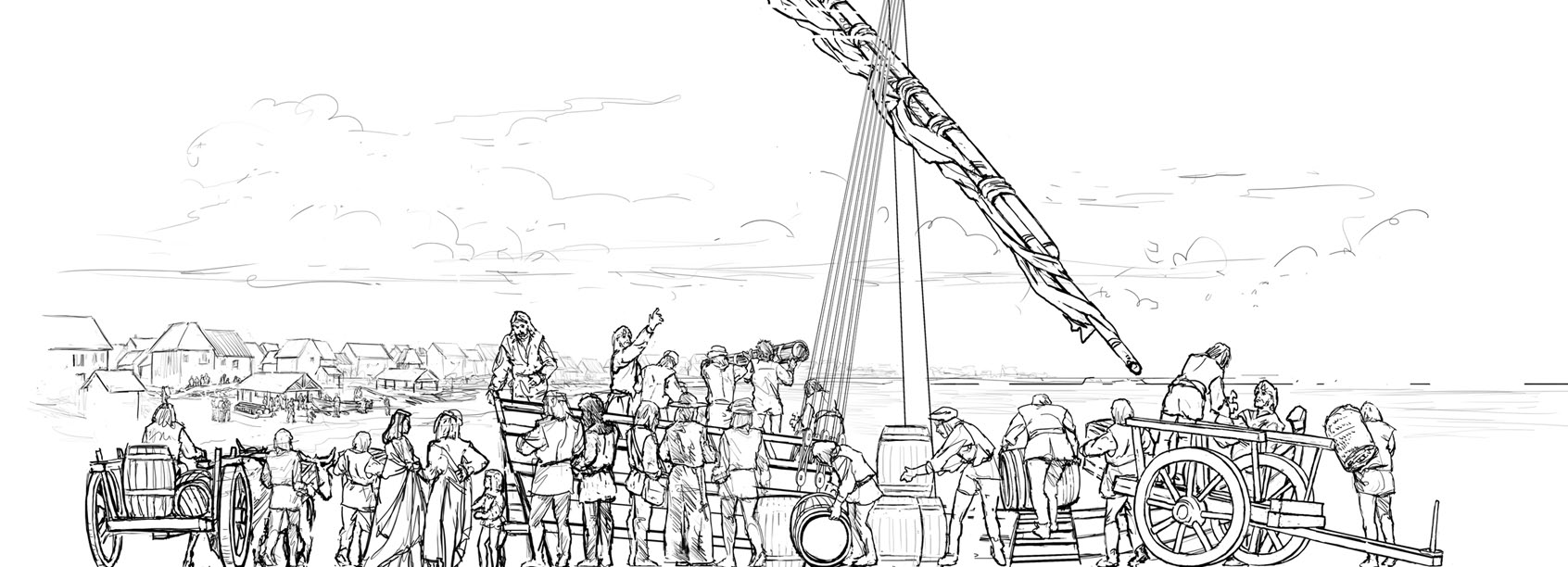 """Concept for """"Ship Mural 1"""" Digital Illustration •  Museum Of Florida History, Tallahassee, FL © KT"""