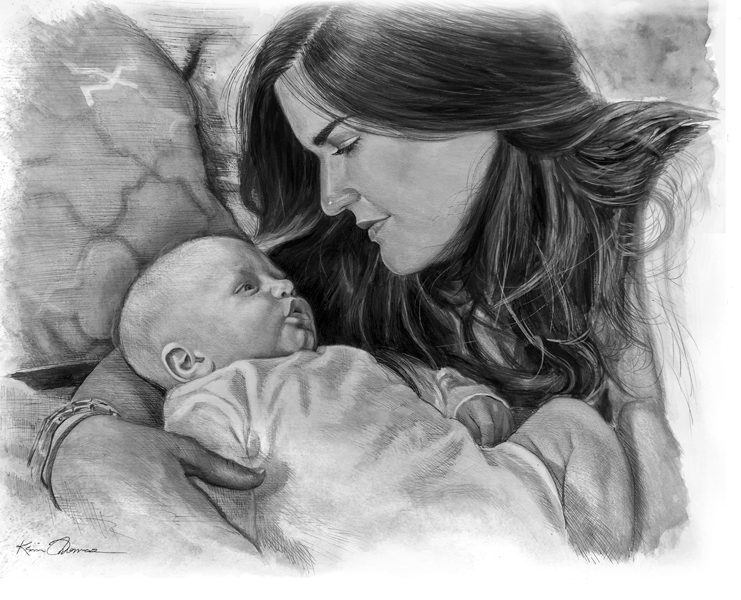 """""""Laura & Carter"""" • 16"""" x 20"""" • Pen & ink with ink wash"""
