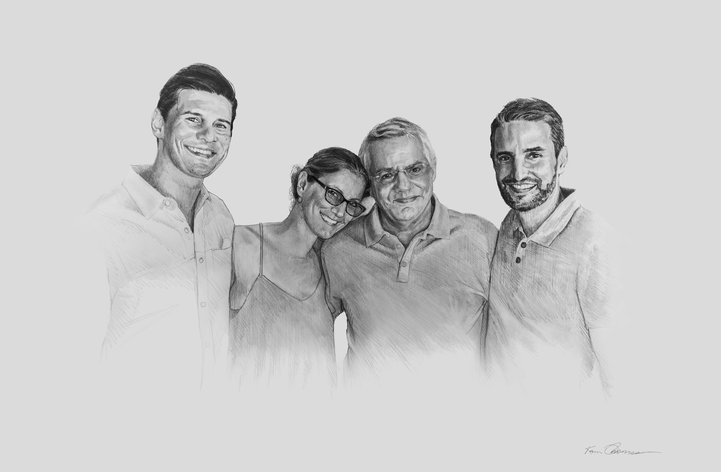 """""""Kyle, Courtney, Tom and Colby"""" • 20"""" x 30"""" • Graphite on illustration board."""