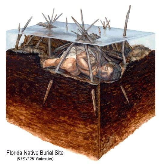 """Native Burial Site""• South Florida Museum, Bradenton, FL. Watercolor. © KT"