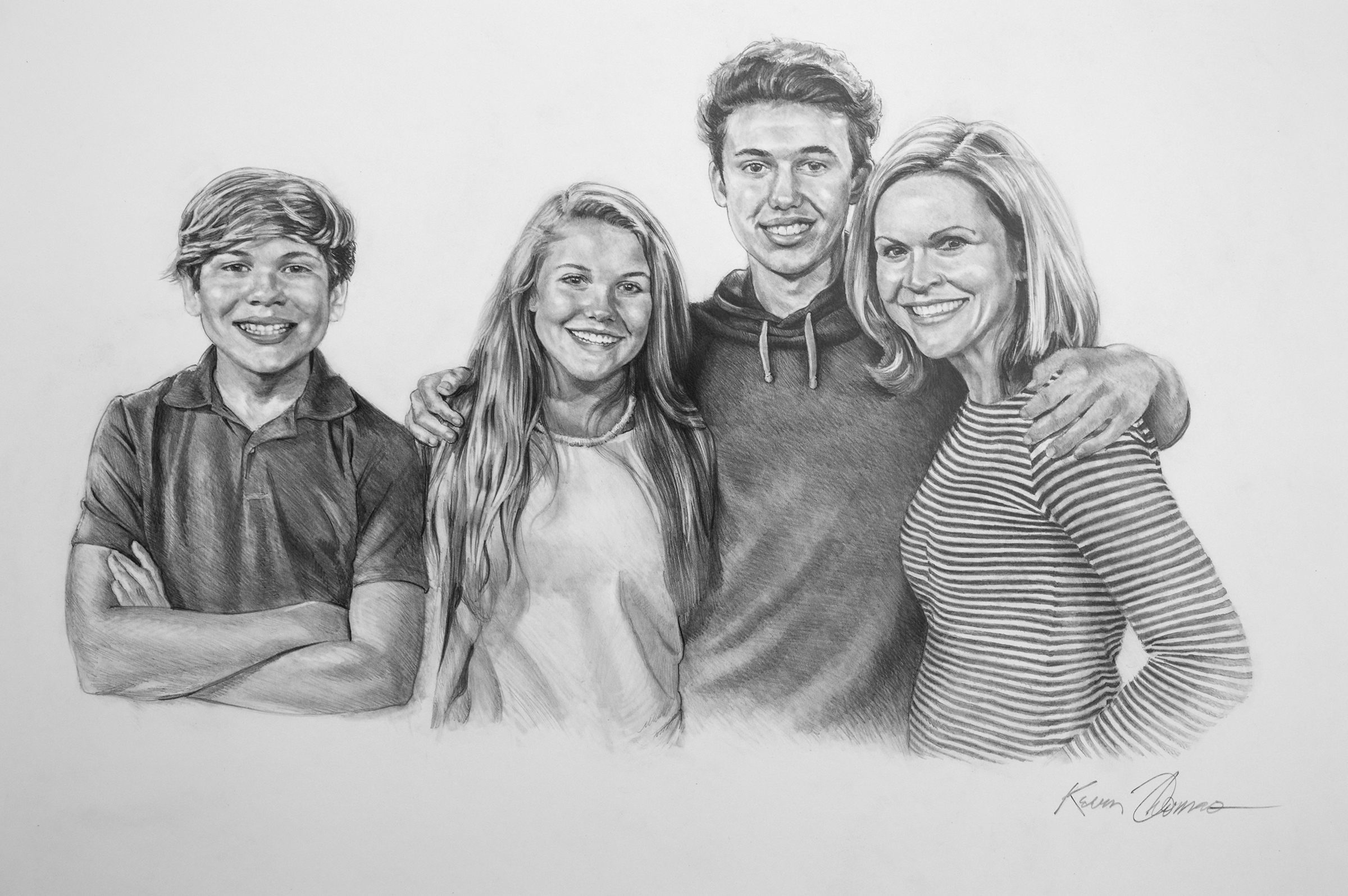 """""""The Smith Family"""" • 20"""" x 30"""" • Graphite on Illustration Board"""