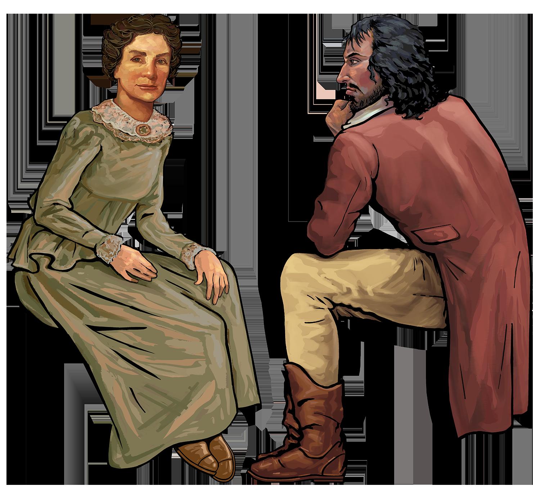 Jane Long and Jean Lafitte- Pirate Ship Exhibit • Digital Illustration