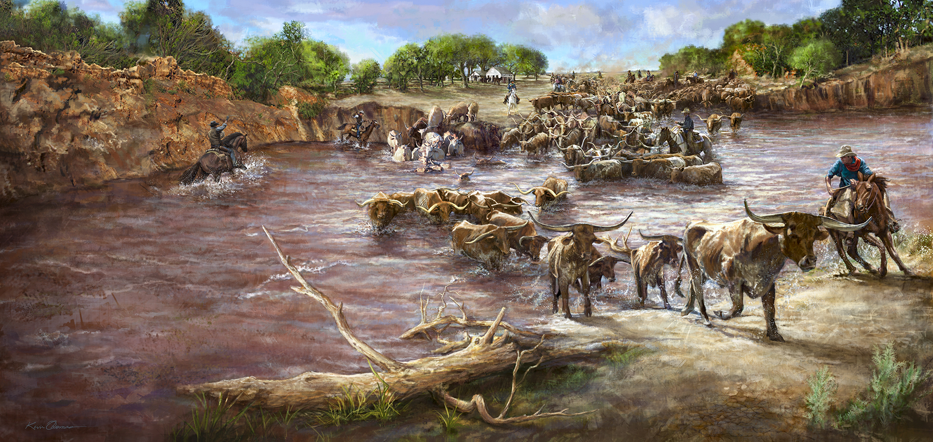 """Red River Mural"" • (full view) • 21' 11.5"" w by 10' h • Early 1880s Doan's Store with a Texas cattle drive crossing onto the Oklahoma's side of the riverbank. • Red River Valley Museum, Vernon, © KT"