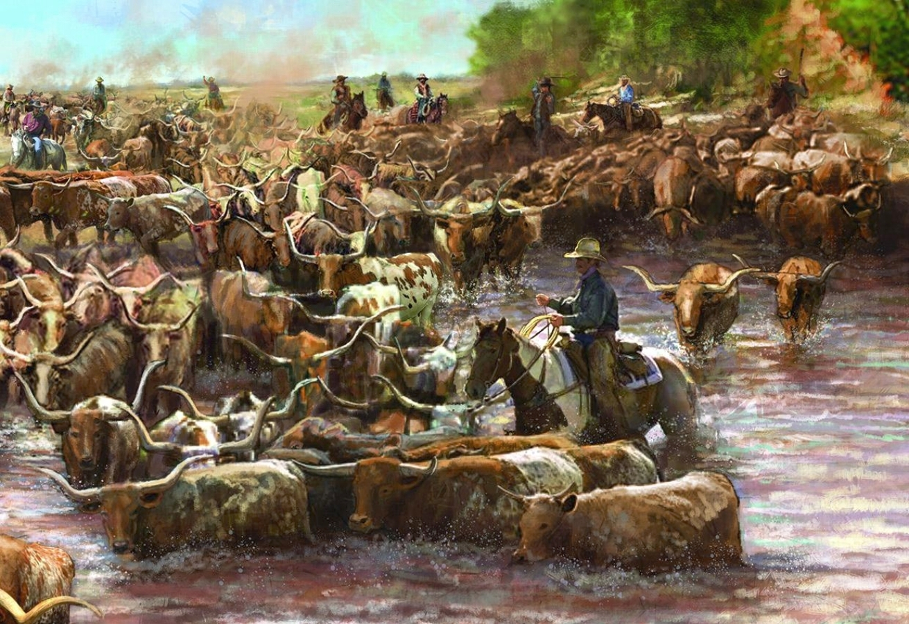 """Red River Mural""- Center detail • 21' 11.5"" w by 10' h • The Red River Valley Museum • Vernon, TX. s  © KT"
