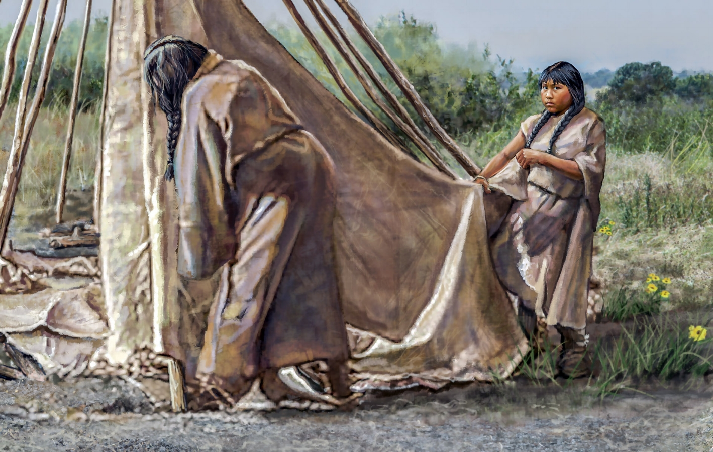 """Raising the Tepee""- mural detail • 20' 9"" by 9' • Mural was painted digitally in Photoshop w/traditional painting techniques • Forney Spellman Museum, Forney, TX. © KT"
