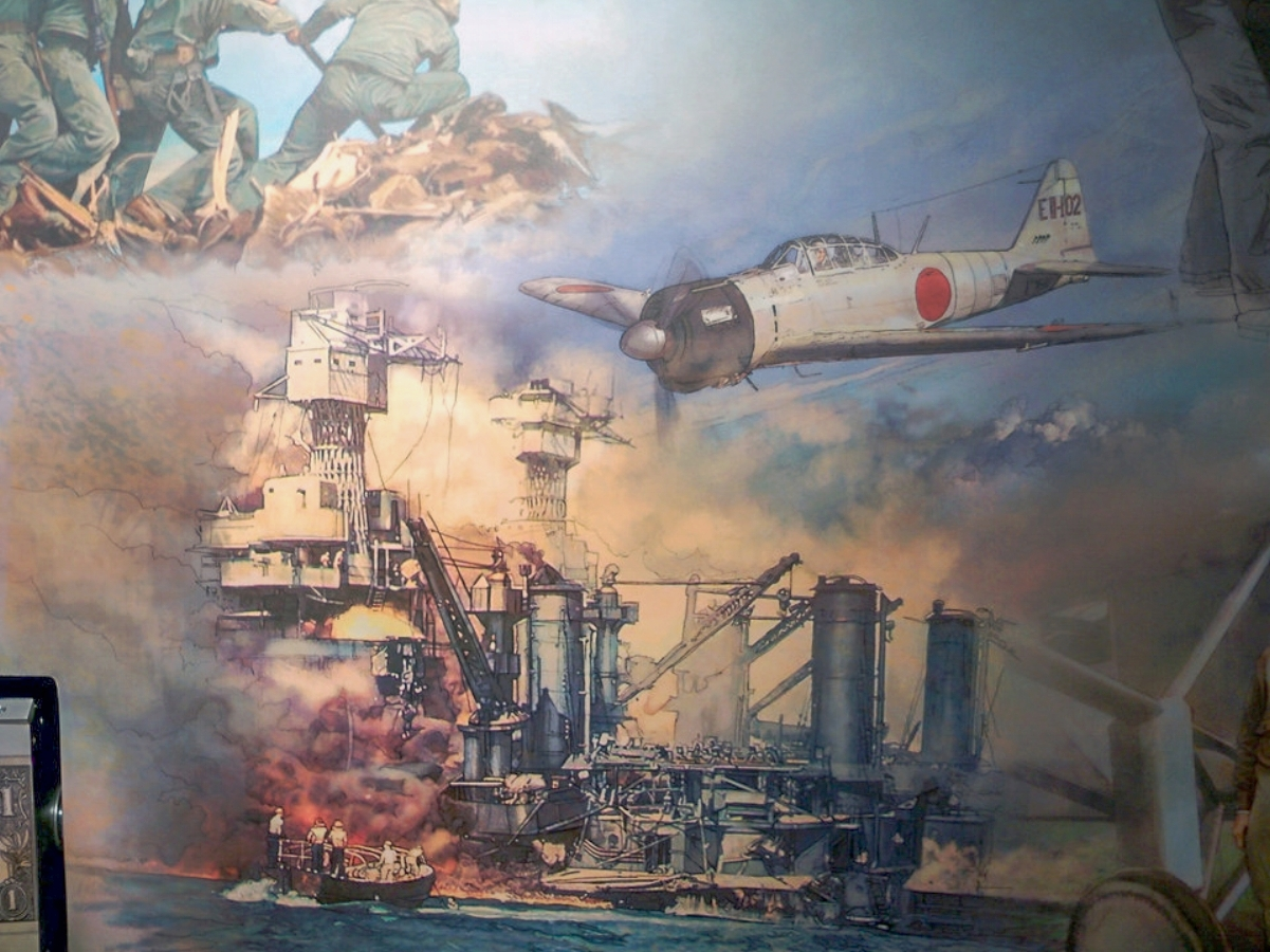 "FED mural - Center • 9' x 17' • Digital • ""Detail of the infamous attack on Pearl Harbor"" • Federal Reserve Bank Of Dallas, Dallas TX. © KT"