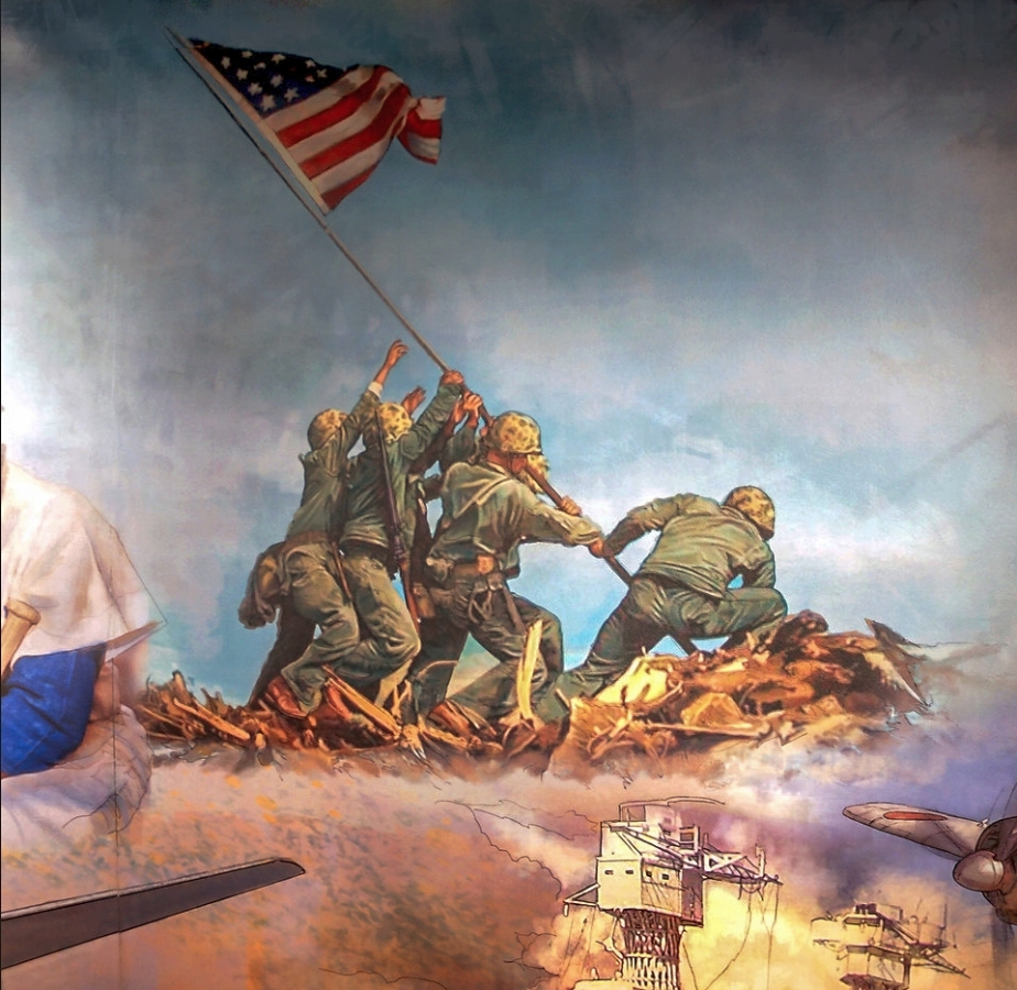 "FED mural - Center • 9' x 17' • Digital • ""Detail of Iwo Jima flag raising"" • Federal Reserve Bank Of Dallas, Dallas TX. © KT"