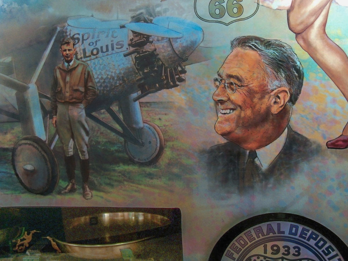 "FED mural - Center left • 9' x 17' • Digital • ""Detail of Lindbergh and President Roosevelt"" • Federal Reserve Bank Of Dallas, Dallas TX. © KT"