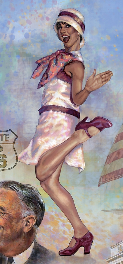"FED mural - Center right • 9' x 17' • Digital • ""Detail of ""Flapper"" • Federal Reserve Bank Of Dallas, Dallas TX. © KT"