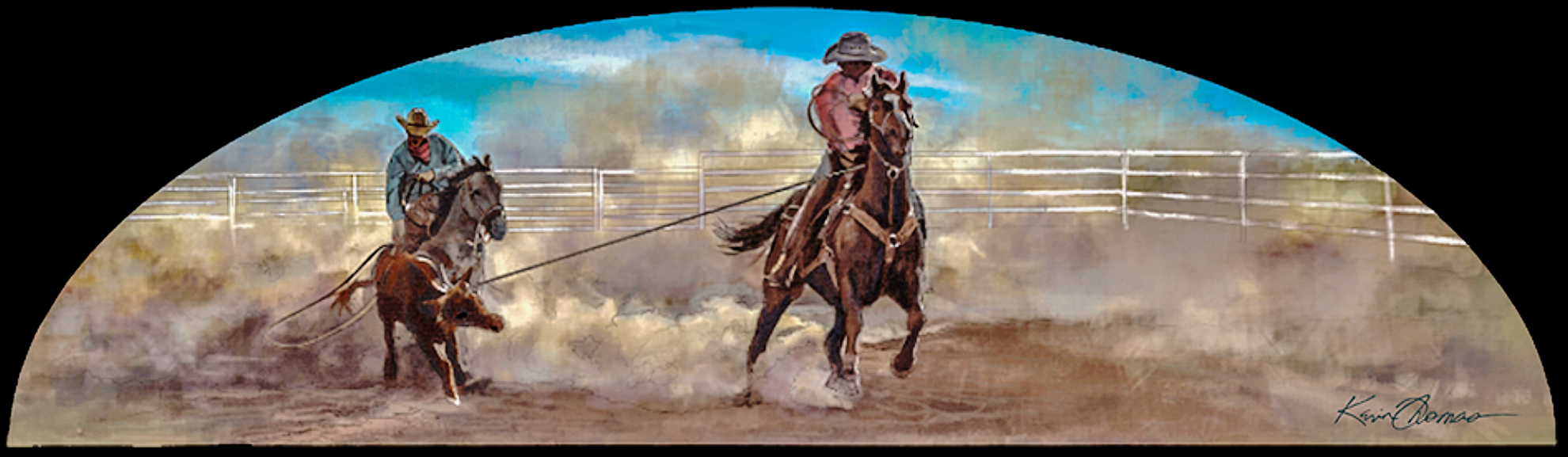 """Cowboys roping calf"" • Digital Mural • 14""h by 48""w • Arched entrance of Fort Worth Zoo, Fort Worth, TX. ©KT"