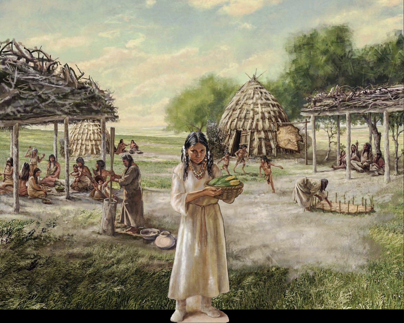 """Wichita Life Mural"" • Rendered digitally in Photoshop, scene depicts the habitat and the lifestyle of a Wichita tribe. • Tales N' Trails Museum, Nocona, TX.  © KT"