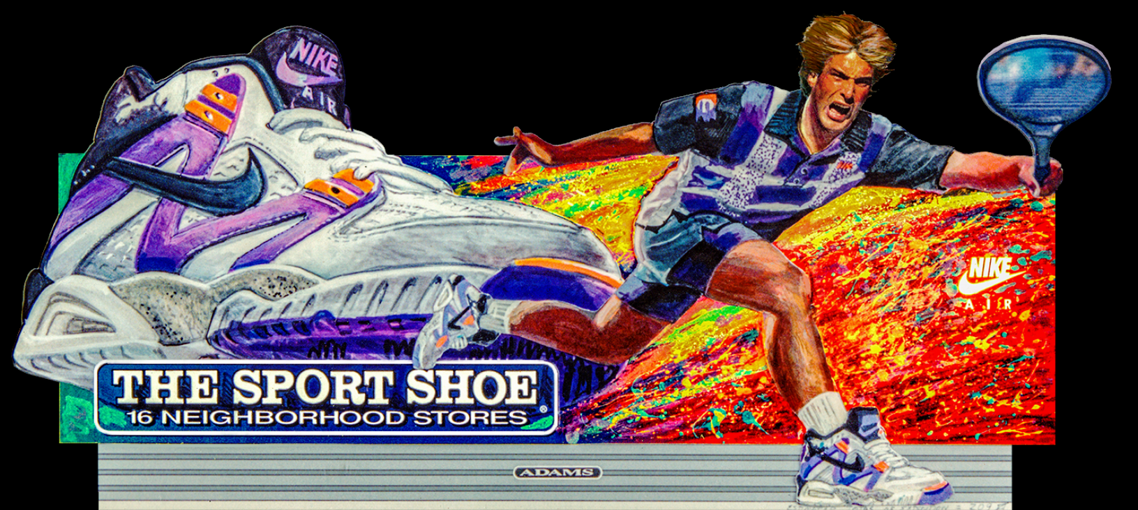 """Outdoor Advertising- """"Nike, Tennis"""" • The Sports Shoe. Designed & Illustrated this 14' by 48' billboard. © KT"""