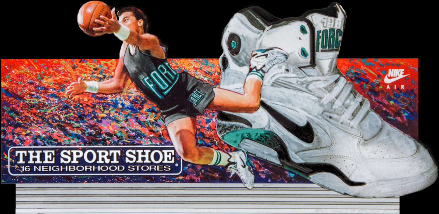 """Outdoor Advertising- """"Nike Basketball"""" • The Sports Shoe. Designed & Illustrated this 14' by 48' billboard. © KT"""
