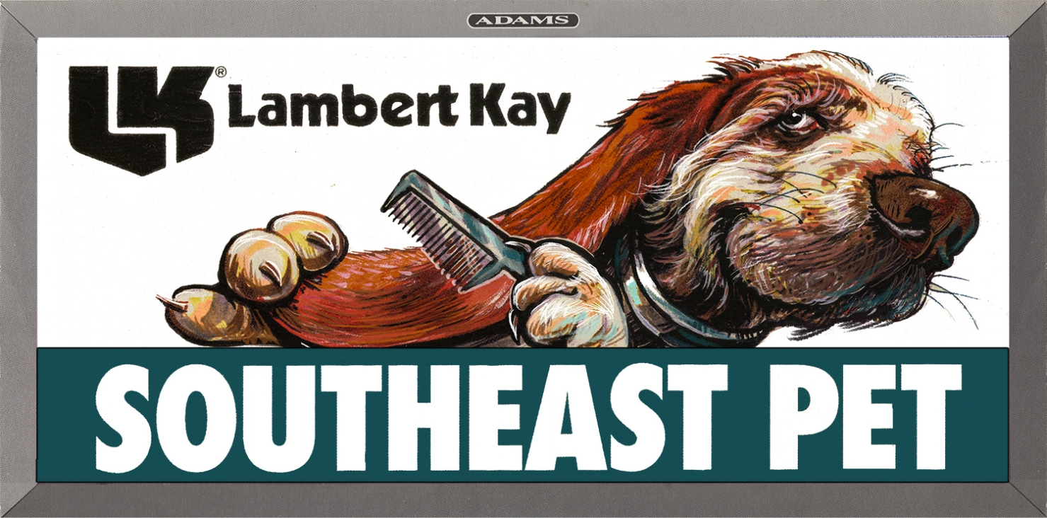 """Outdoor Advertising- """"Lambert Kay"""" • SouthEast Pet • Designed & illustrated this 10' 6"""" by 36' poster. © KT"""