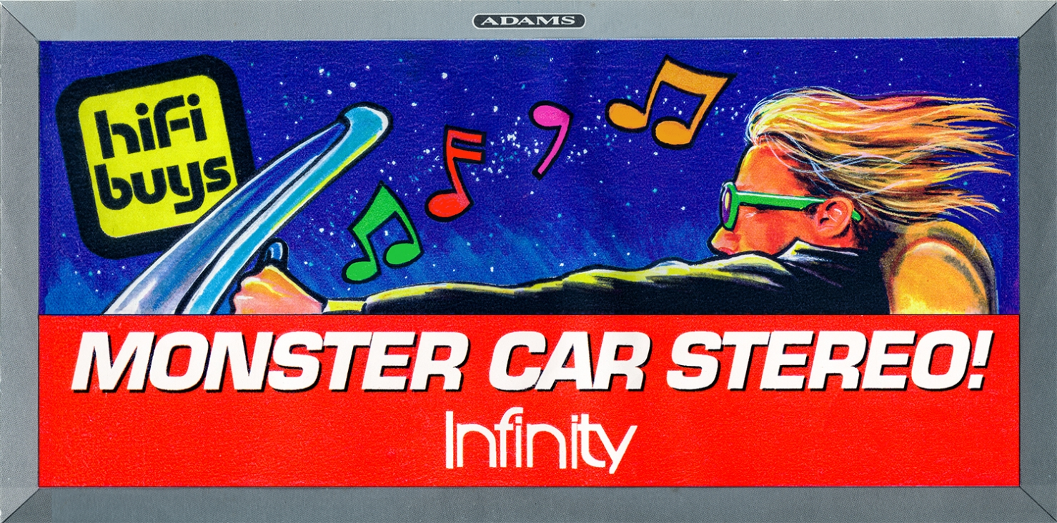 """Outdoor Advertising- """"Monster Car Stereo"""" • Infinity • HiFi Buys. Designed & illustrated this 10' 6"""" by 36' poster. © KT"""