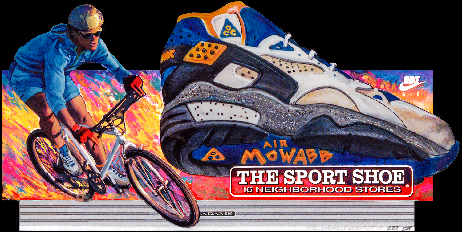 """Outdoor Advertising- """"Nike, Air Mowabb"""" • The Sports Shoe. Designed & Illustrated this 14' by 48' billboard. © KT"""