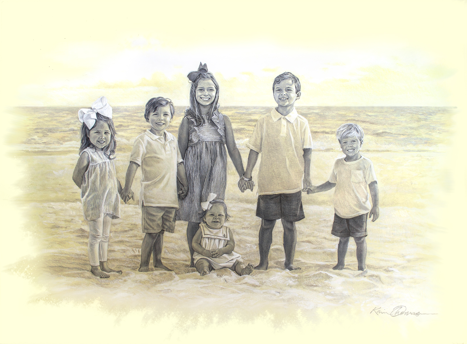 """""""Allie, Adeline, Charlie, Lila Kate, Levi & Lewis"""" 22"""" x 30"""" • Graphite and wash on toned paper"""