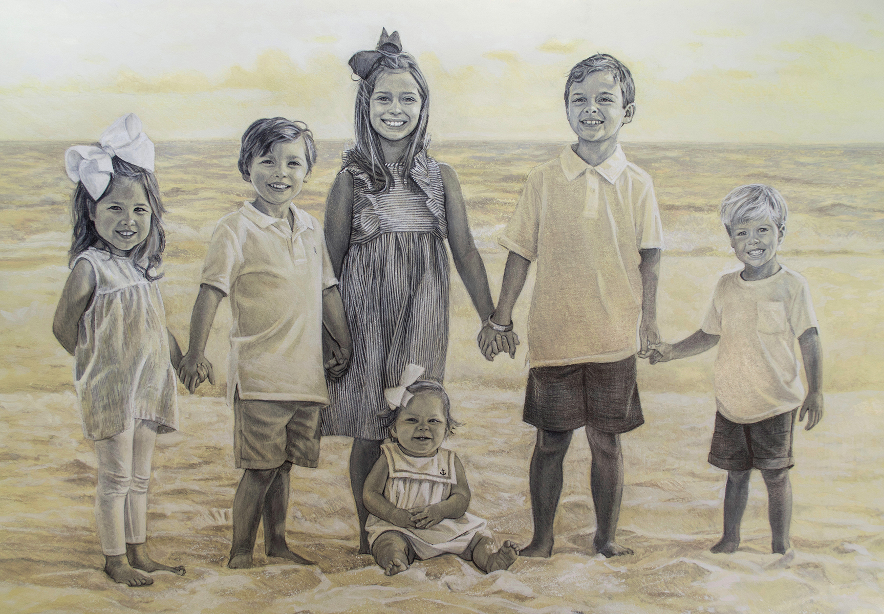 """""""Allie, Adeline, Charlie, Lila Kate, Levi & Lewis"""" detail-  Graphite and wash on toned paper"""