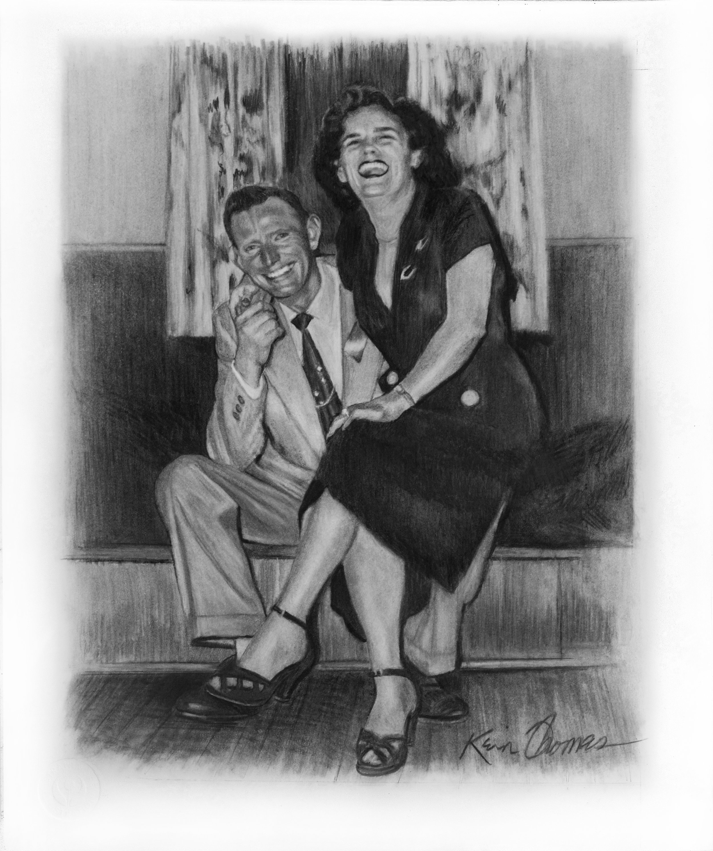 """""""Rendezvous"""" 10"""" x 12"""" Graphite on Illustration Board. Reference taken from the original black & white photo w/side note: Wedding 1955"""