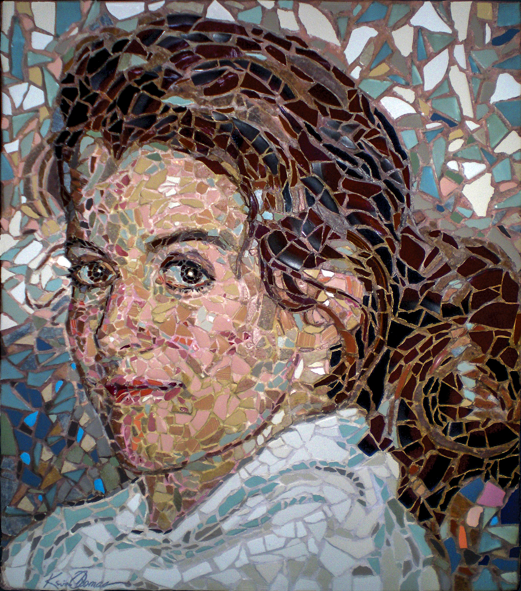 """Kathryn"" • 37.5"" x 42.5"" • Mosaic of glass, ceramic tile and stoneware on plyboard • NFS"