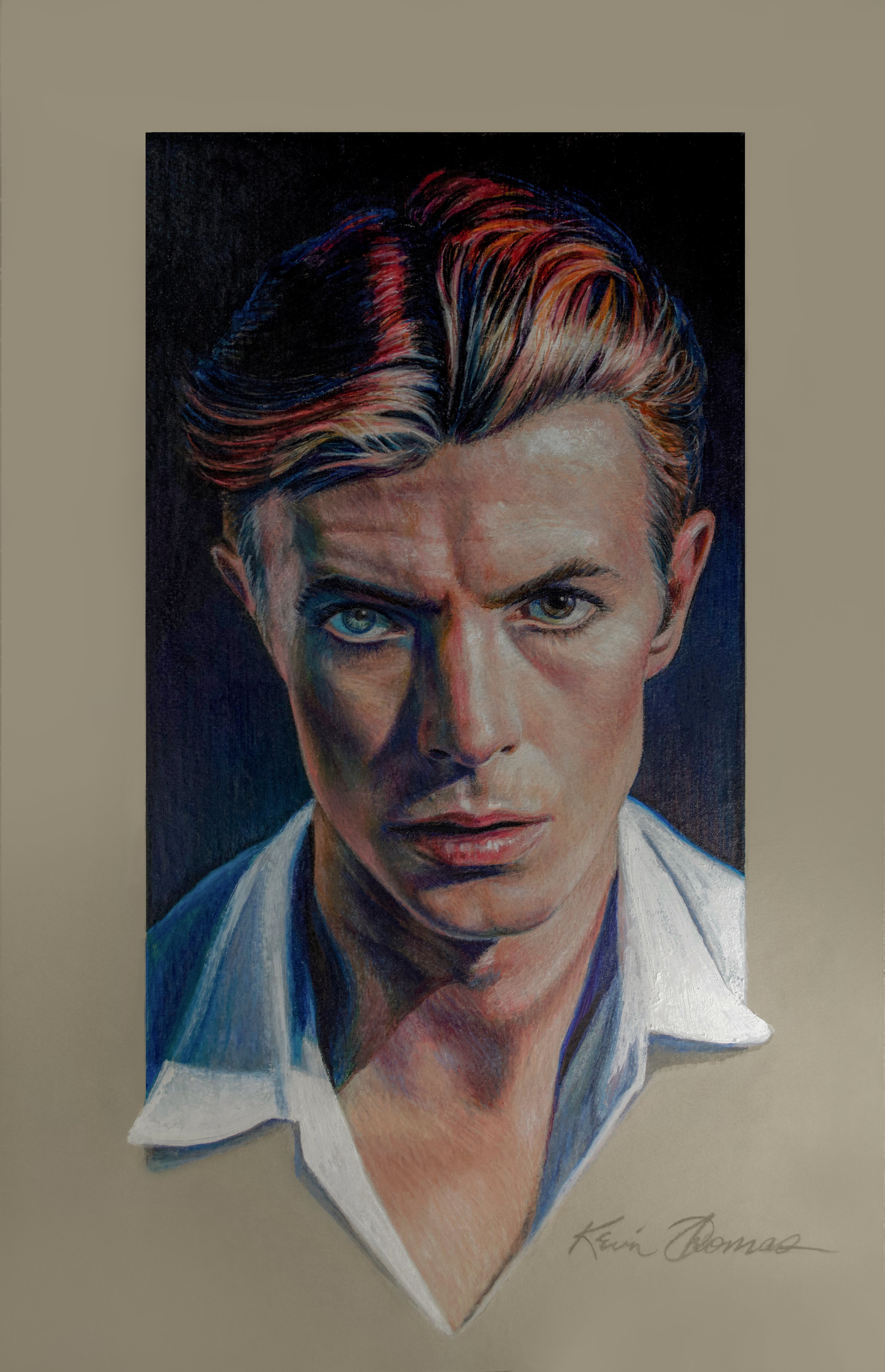 """""""David Bowie"""" • 12.75"""" by 19.5"""" • Oil Based Colored Pencil on Toned Paper"""