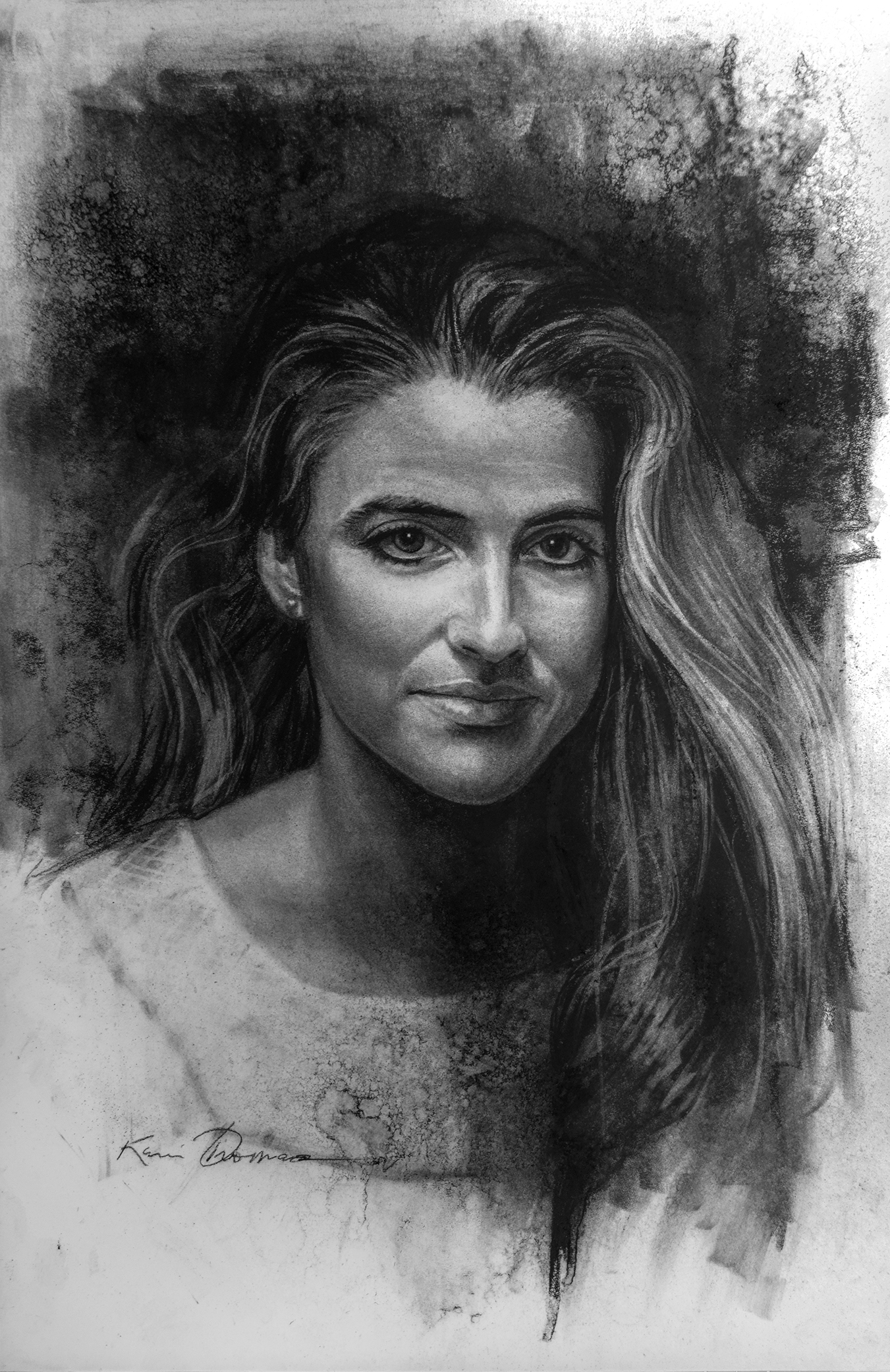 """""""Kathryn 1985"""" • 22"""" x 14"""" • Charcoal on paper"""