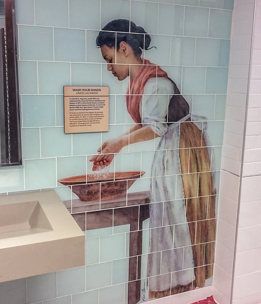 """""""Spanish Colonial Woman & Child"""" • Final artwork on glass tiles installed within St. Augustine, FL Arts District Visitor Center facilities. ©KT"""