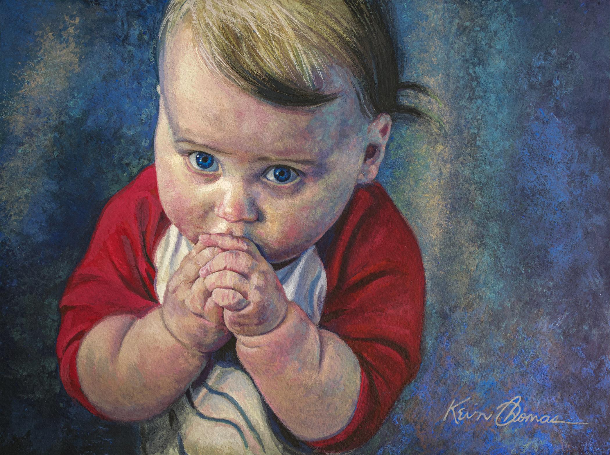 """""""Pretty Please"""" • 11"""" x 15"""" • Casein on watercolor paper • Portrait of my grandson."""