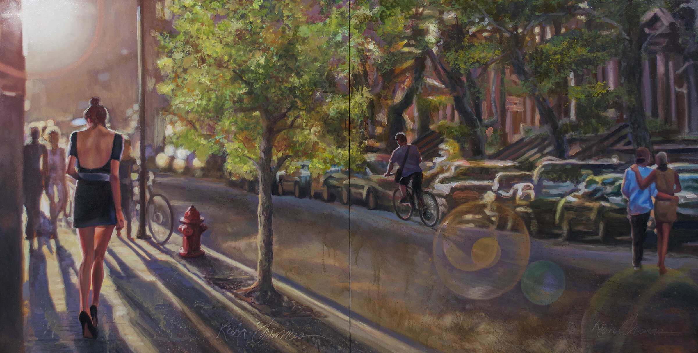 """""""Coming & Going"""" • 30"""" x 60"""" diptych • oil on canvas • For Sale- please contact the studio for price."""