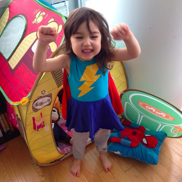 My niece at 3yo learning to be super.