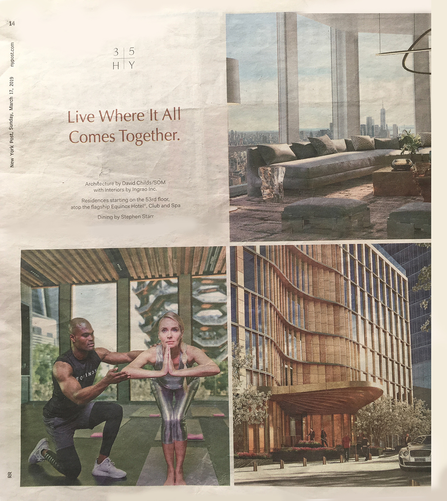Hudson Yards:  Building New York's New District. Live Where It All Comes Together (Print Ad: New York Post | March 17, 2019)